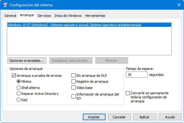 modo seguro de Windows diez